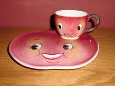 Vintage Anthropomorphic Apple Mug and Plate snack by ILuvCollectin, $28.00