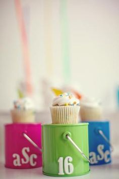Sweet 16 monogrammed mini cupcake idea {Photo by Anne Marie Photography}