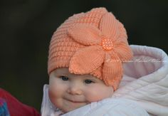 Peach Flower Hat  by Tanya Matsiuk | Knitting Pattern - Looking for your next project? You're going to love Peach Flower Hat  by designer Tanya Matsiuk. - via @Craftsy