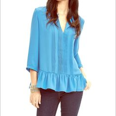 Banana Republic crepe flutter blouse - size small Adorable sky blue blouse from banana republic - NWT!  Retails for $88, on sale online for $66.99!  Could be paired with pencil skirt, skinny jeans, shorts, you name it! Banana Republic Tops Blouses