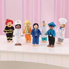 The KidKraft Professionals Doll Set comes with seven dolls! Each one is very professional, but all of them love to play. Dollhouse Kits, Dollhouse Dolls, Toys For Girls, Kids Toys, Fabric Yarn, Toys Online, Wooden Dolls, Pretend Play, Firefighter