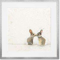 Curated Nest: Nurseries and Design - Baby Bunnies Kissing - Art Bunny Room, Bunny Nursery, Bunny Art, Girl Nursery, Bunny Drawing, Bunny Painting, Cool Baby, Art Floral, Lapin Art