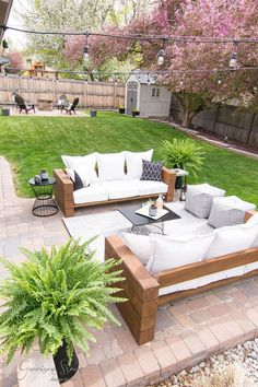 DIY Outdoor Sofa Full Tutorial | Garrison Street Design Studio - Patio Furniture - Ideas of Patio Furniture #PatioFurniture - DIY Outdoor Sofa Full Tutorial| GarrisonStreetDesignStudio | Outdoor Furniture | DIY | Wood | Rustic | Modern | Easy | Ideas | Cushions | Cheap | Comfortable | On a Budget | Lounge | Restoration Hardware Aspen Collection | Knockoff | Patio | Porch | Deck | Couch |Sofa | Build | Stain | Seating | Timbers | Lumber | Chunky | Backyard | Yard | Luxury | Affordable | Comfy…