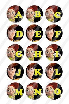 These Alphabet designs are presented in a inch circle for bottlecap x sheet to print and create your own pins bottle caps cupcake toppers magnets stickers necklaces key chains and Scrabble Tiles, Digital Collage, Toy Story, Dog Tags, Circles, Alphabet, Scrapbook, Toys, Movie Posters
