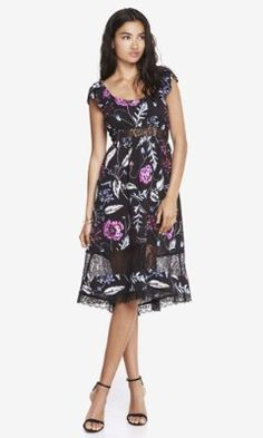 FLORAL LACE INSET MIDI DRESS from EXPRESS