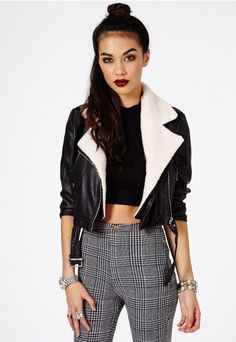 Sahiya Shearling Collar Cropped Biker Jacket - Coats & Jackets - Missguided