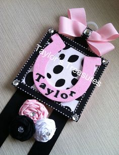 Taylors Treasures  - Cowgirl Horse Shoe Hair Bow Holder -- Personalized With Any Name.