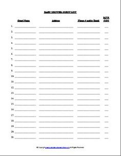 baby shower planning template baby shower guest list party ideas