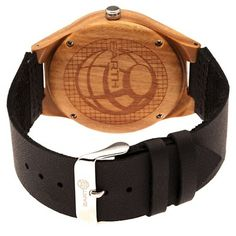 Earth Wood Aztec Men's Leather-Band watch - Dark Brown/Black, Dark Oak