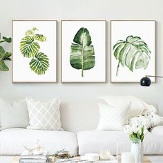 Leaf Wall Art, Tree Wall Art, Home Decor Wall Art, Abstract Wall Art, Room Decor, Canvas Wall Art, Wall Art Prints, Nordic Art, Watercolor Leaves