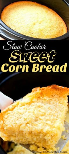 This delicious Slow Cooker Sweet Corn Bread with it's tender crumb and mildly sweet flavor is made in a slow cooker. It's a no-fuss alternative to baking. Slow Cooker Bread, Best Slow Cooker, Crock Pot Slow Cooker, Slow Cooker Recipes, Crockpot Recipes, Cooking Recipes, Crockpot Cornbread Recipe, Skillet Cornbread, Bread Recipes