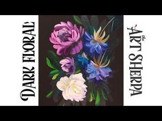 Easy Painting in acrylic Dark Floral for Beginners Canvas Painting Tutorials, Acrylic Painting For Beginners, Acrylic Painting Techniques, Watercolour Tutorials, Painting Videos, Acrylic Tutorials, Watercolour Art, Beginner Painting, Easy Watercolor