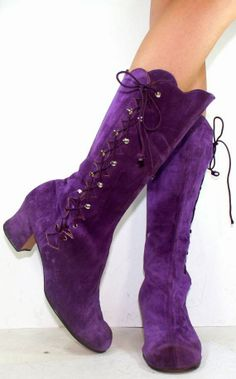 Vintage High Heel Suede Purple.