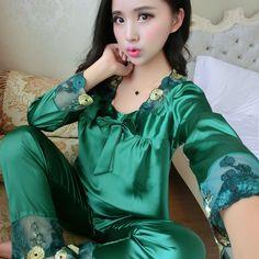 968d6a5219 women s Silk sleepwear tracksuit female autumn twinset pajamas set long- sleeve silk sexy spring and autumn nightwear set