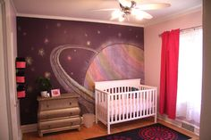 A space-themed nursery for a girl baby. <3 this idea. #children #babies #rooms