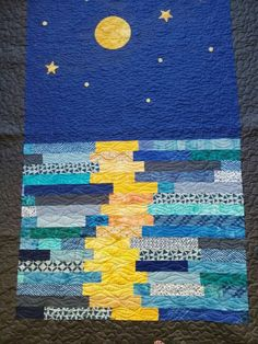 Moon reflection quilt, stary night quilt, Blue ocean quilt, Handmade q… Jellyroll Quilts, Patchwork Quilting, Blue Quilts, Mini Quilts, Ocean Quilt, Landscape Art Quilts, Homemade Quilts, Nancy Zieman, Textiles