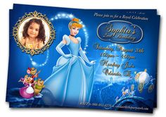 Cinderella Invitations by The Party Stork Kids Invitation Collection Listing is for ONE x 6 PRINTABLE Cinderella Birthday Party Invitation. Cinderella Invitations, Printable Birthday Invitations, Digital Invitations, Invitation Card Design, Invitation Cards, Birthday Cards, Birthday Parties, Birthday Ideas, Birthday Photos