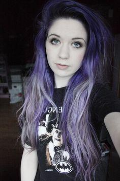 dark purple to light... & she's wearing a penguin shirt!