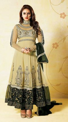 Huma Qureshi In Dusty Cream Anarkali Suit AG721051