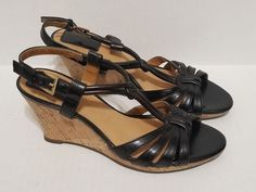 0a663da27f1 Clarks Wedge Sandals Size 6 M Black Open Toe Ankle Strap  Clarks   SlingbackSandals