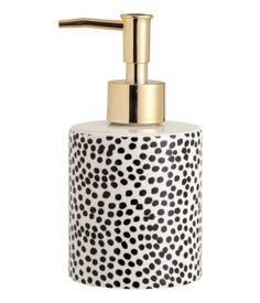 Posliininen saippuapullo | Valkoinen/Mustakuviollinen | Home | H&M FI