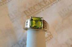 Vintage 14k yellow gold Square Peridot Ring by BeckersJewelersCT
