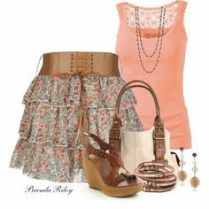 skirt floral skirt cute skirt colorful summer outfits spring outfits t-shirt bag belt shoes jewels top