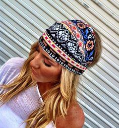 Colorful Aztec Boho Headband Cotton Wide Turban Head Scarf. $18.00, via Etsy.