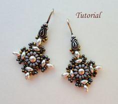 Beaded earrings tutorial instructions Superduo by PeyoteBeadArt