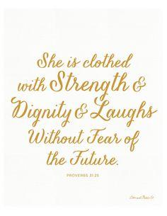 Proverbs 31:25 Art Print. Scripture - Bible Verse by loveandgraceco