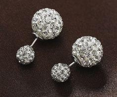Silver Stone Crystal Double Ball Earrings