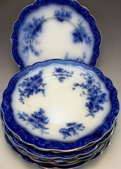 by Henry Alcock & Co. Beautiful and popular pattern with lots of intense blue design. Impressed on back 210 13 with three small painted gold marks. Flow Blue China, Blue And White China, Love Blue, Blue Dishes, White Dishes, Vintage Plates, Vintage Items, Blue Dinnerware, Blue Bowl