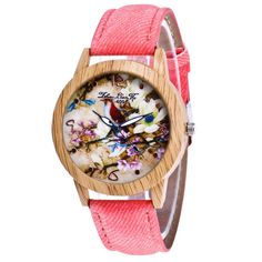 c1c02f3dc380 Retro Flowers Pattern Leather Band Analog Quartz Vogue Wrist Watches Relojes  De Mujeres