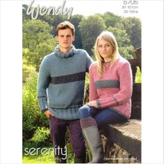 b17de14d273e3 KNITTING PATTERN WENDY 5705 UNISEX POLO AND CREW NECK SWEATER JUMPER AND  COWL on eBid United