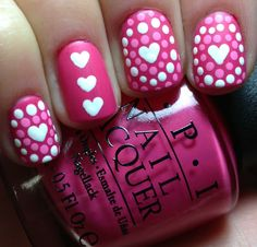 Pink and white Heart and polka dot nail art