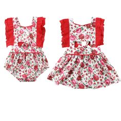 c2ce858a7e70 Summer Newborn Toddler Kids Baby Girl Floral Clothes Sister Match Ruffles Sleeve  Princess Romper Dress Family Match Clothes