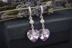 Valentines day gift, Lilac crystal earrings, Small heart earrings, Swarovski earrings, Girlfriend gift, Gift for woman, Anniversary gift, Gift for her, Tiny earrings, Tiny heart earrings, Love earrings.