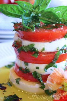 caprese towers~ summer on a plate    (cannot wait!)