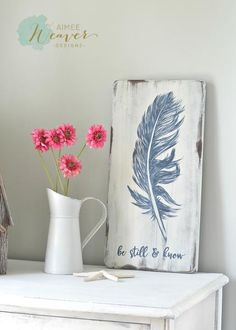"Feather Painting ""Be still & know"" {ready-to-ship} Wood Feather, Feather Art, Feather Quotes, Feather Signs, Feather Stencil, Wooden Crafts, Diy And Crafts, Arts And Crafts, Feather Painting"