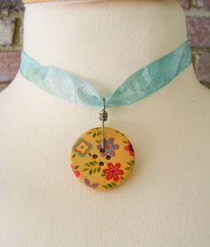 Flowers and Leaves Painted Wooden Button Wire by meiguidesigns, $9.90