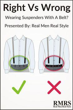 5 Style Mistakes To Avoid Wearing suspenders with a belt? Yes or NoWearing suspenders with a belt? How To Wear Suspenders, Suspenders Outfit, Suspenders With Belt, Mens Style Guide, Men Style Tips, White Outfit For Men, Real Men Real Style, Fashion Vocabulary, Men's Grooming