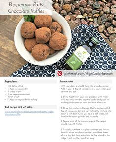 Ingredients 30 dates, pitted 3 tbsp cocoa powder tbsp water 1 tsp peppermint extract Pinch of salt 2 tbsp cocoa powder for rolling Low Fat Vegan Recipes, Honey Recipes, Vegan Foods, Whole Food Recipes, Vegetarian Recipes, Healthy Recipes, Healthy Deserts, Vegan Treats, Vegan Snacks