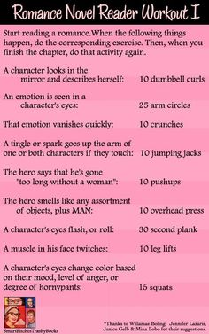 Romance Novel Reader Workout II from Smart Bitches, Trashy Books. Writing A Book, Writing Tips, Writing Help, Reading Challenge, Look In The Mirror, Romance Novels, Writing Romance, Me Time, Love Book