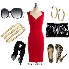 Awesome outfit for New Year's Eve. Red, black with gold bling!