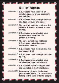 BILL OF RIGHTS: Know your rights and teach them to your children.