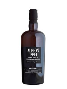 Albion 1994 : cask-strength, un-filtered rum produced from the famous Albion wooden stills before their move to the Demerara Distillers Limited distillery in Georgetown British Guyana and bottled by Italian importers Velier