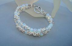Bracelet  Open Bangle-Double Strand Blue Opalite by CrookedCrystal, $22.50