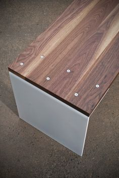 Walnut & White Bench Modern by buschdesign on Etsy Furniture Makeover, Diy Furniture, Furniture Design, House Furniture, Outdoor Furniture, Ipe Wood, Wood Slab, White Bench, Wood Stairs