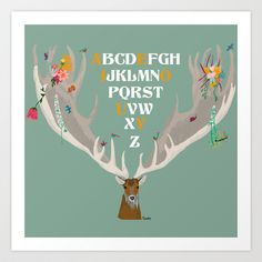"""Alphabet poster -vintage colours - Forest Spirit  The birds, the deer, the dragonfly and the butterflies remind the """"Forest Spirit""""."""