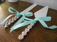 Wedding Cake Serving Set with Rhinestones Glam and Bling Silver Diamond Handle and your choice of ribbon by astylishdesign on Etsy https://www.etsy.com/listing/177116398/wedding-cake-serving-set-with
